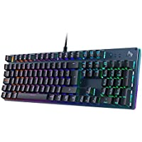 AUKEY Teclado Gaming, Teclado Mecánico con Retroiluminación RGB Personalizable y Switches Azules Táctiles, 100% Anti-ghosting de 105 Teclas con Disposicion Española, Panel de Metal para PC y Laptop