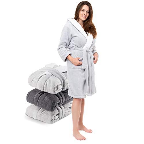 Twinzen ⭐ Albornoz Microfibra (100% Poliéster) Mujer Largo con Capucha para Adulto (X-Small, Bicolor Gris Oscuro/Blanco) Certificación Oeko Tex - Bata de Baño 2 Bolsillos, Cinturón y Aro