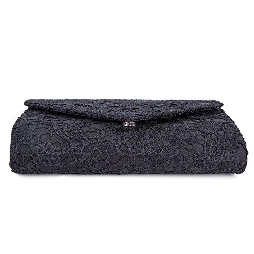 Damen Frauen Clutch Abendtasche Handtasche Satin und Spitze Elegante Tasche für Urlaub Party 21*13*5cm Schwarz