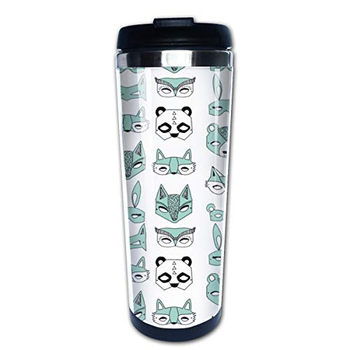 Animal Masks Mint Cute Tiny Illustrations Multi Insulated Stainless Steel Travel Mug 14 oz Classic Lowball Tumbler with Flip Lid Nissan Thermos Travel Mug