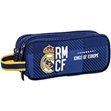 Real Madrid - Portatodo triple, 22 x 9 x 3 cm, color azul (Safta 811724635)
