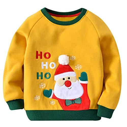Kinder Baby Mädchen Jungen Fleecepullover Weihnachtspulli Pullover Kleinkinder Herbst Winter Warm Langarmshirt Sweatershirt Oberbekleidung Gelb 80