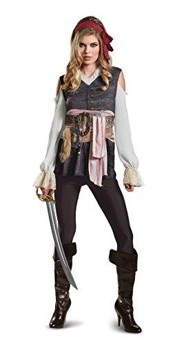 Adult Jack Kostüm Sparrow Captain - Disney Women's Plus Size POTC5 Captain Jack Sparrow Female Classic Adult Costume, Brown, Large