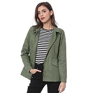 Allegra K Women's Drawstring Waist Flap Pockets Military Jacket L Green