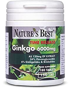 Ginkgo Biloba 6000mg- One-A-Day, Longer Acting Time Release Formula, UK-Made-180 Tablets