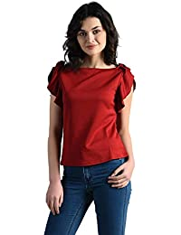 80ab7ccb6c8 AARA Women's/Ladies/Female Maroon Polyester Armhole Frill Top (20180085)