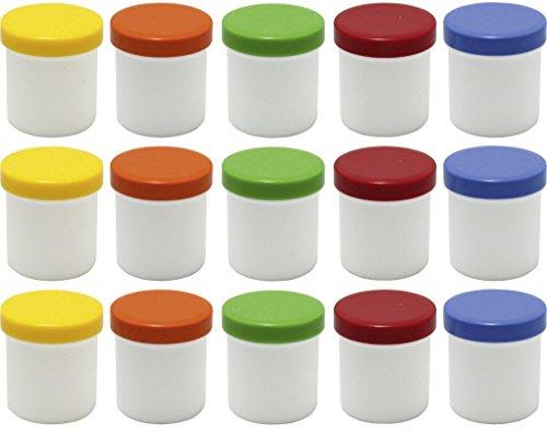 15 Salbendöschen, Creme-döschen, Salbenkruke hoch, 12ml Inhalt mit farbigen Deckeln - MADE IN GERMANY