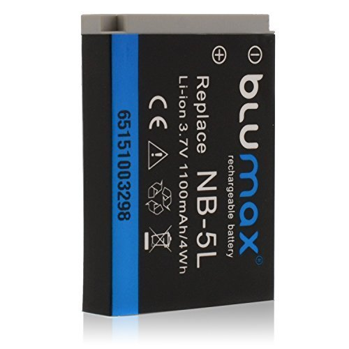 Blumax Akku 3.7V 1100mAh 4Wh für Canon NB-5L passend für Digital IXUS 800 IS 850 IS 860 IS 870 IS 90 IS 900 Ti 950 IS 960 IS 970 IS 980 IS 990 IS IXY 830 IS IXY DIGITAL 830 IS 1000 2000 IS 3000 IS 800 IS 810 IS 820 IS 900 IS 910 IS 920 IS 95 IS PowerShot S100 S100V S110 SD700 IS SD790 IS SD800 IS SD850 IS SD870 IS SD880 IS SD890 IS SD900 SD950 IS SD970 IS SD990 IS SX200 IS SX210 IS SX220 HS SX230 HS Sd950 Digital Ixus Kameras