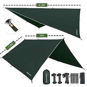 Bessport Zeltplane Sonnensegel Camping, Tarp für Hängematte PU 3000mm Wasserdicht mit Ösen + 6 Erdnägel+ 8 Seilen…