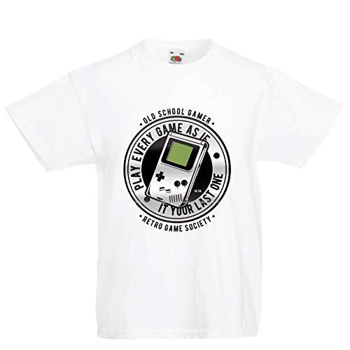 (lepni.me Kinder Jungen/Mädchen T-Shirt Videogamer der Alten Schule, Retro- Spielegesellschaft, Spielefan (14-15 Years Weiß Mehrfarben))