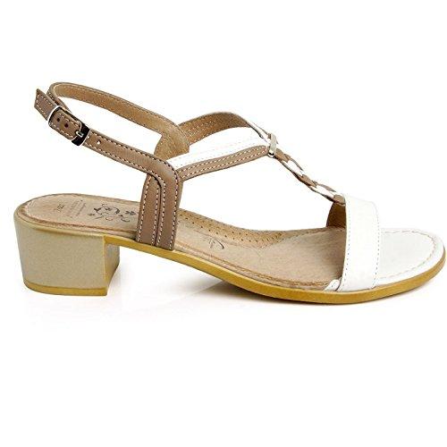 Batz MELISSA Damen Hochwertigem Sommer Sandalen, Sandaletten, Lederschuhe, Schuhe Weiß Mix