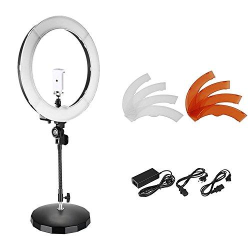 Neewer SMD LED-Licht dimmbar Außendurchmesser 18 Zoll mit flexiblem Arm Metallsockel/Kugelkopf/Halterung für Smartphones Filter, für Videoaufnahmen