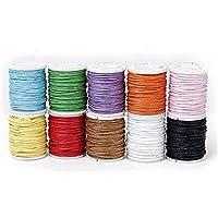TrifyCore 10 Rollos de Hilo de algodón línea de Cera Color Mezclado para la Cadena de Cuentas 1 mm