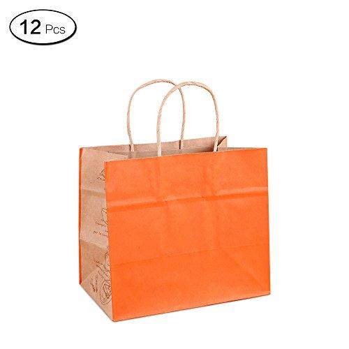 Jia HU 12wiederverwendbar Papier Staubbeutel mit Griffe Tuch Lebensmittel Geschenk Tasche für Shopping Party Orange (Tuch Bulk-lebensmittel-beutel)