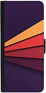 Snoogg Embossed Stripes 2624 Graphic Snap On Hard Back Leather + Pc Flip Cove...