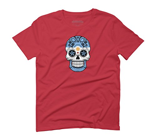 Argentine Flag Sugar Skull Men's Graphic T-Shirt - Design By Humans Red