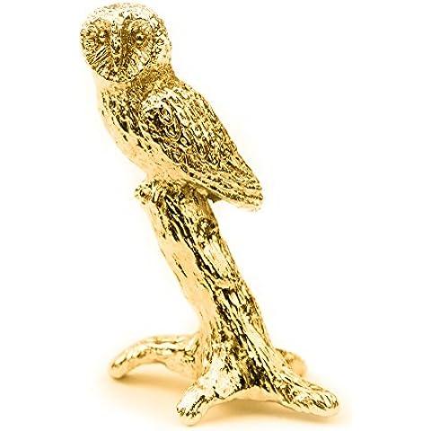 Búho (Tamaño S) Hecho en Reino Unido Artístico Animal Figura Colección (bañoda en oro de 22 quilates)