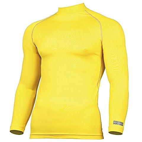 Rhino Haut de compression à manches longues pour adulte Unisexe 16 couleurs disponibles Tailles de XS à XXXL Jaune jaune S/M (Small/Medium)