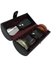 Cordays Deluxe Kit Cuidado de Calzado con Cepillo, Calzador, Paño de Limpieza y Abrillantador -Calidad Premium- Hecho a mano en Piel – Kit Limpieza Zapatos - en Color Negro CDM-00018
