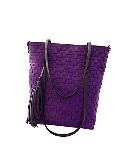 PACK Weave Eimer Tasche Koreanische Version Retro Schulter Handtaschen Scrub Big Bag Fashion Tassel Rucksack,D:RoseRed A:Purple