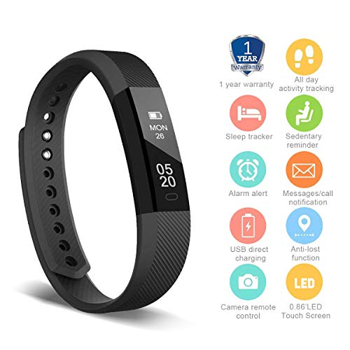 HolyHigh 115 Fitness Tracker Band for Men Women Kids Smart Fitness Watch with Pedometer Calories Burned Sleep Monitor Facebook Whatsapp Call Alarm Notifications (Black)