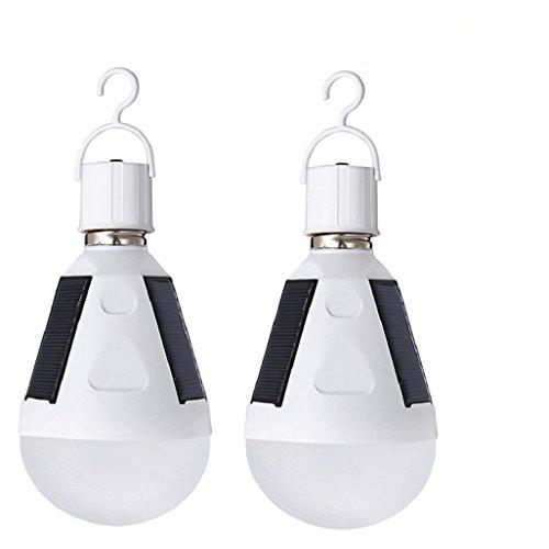 Portable solaire à Ampoule 2 pcs -12 W - E27 - pour maison lumière urgence Intérieur - Nuit lampe de travail - Extérieur randonnée - Camping Pêche (12 w)
