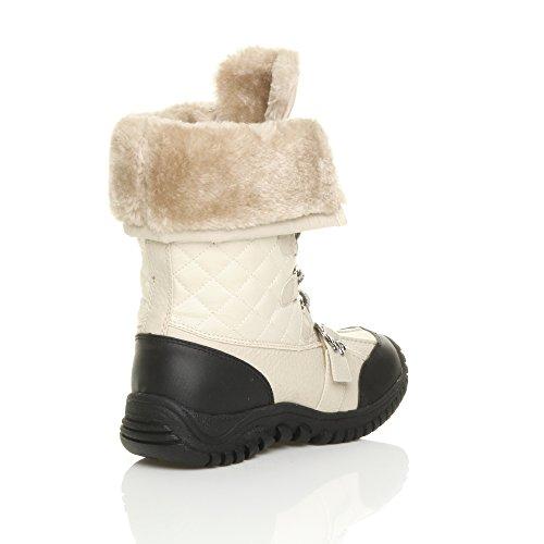 Bezerro Neve Acolchoado De Inverno Creme Alta Botas Pele Laços Mulheres Bege Saltos Tamanho Pequenos De fq0tRtw