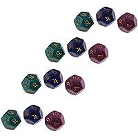 1023f5571a7962 Homyl Lot de 12pcs Dés Perles 12 Faces Dice Astrologie Jouets Pièces en  Acrylique pour Divination
