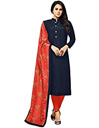Applecreation Women's Cotton Silk Salwar Suits Material (blue_Salwar Suit_21DMK631_Free Size)