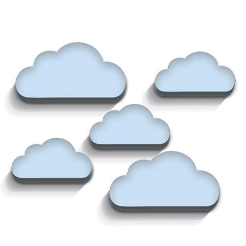 luvel (M6)- 5-er Set Wolken mit 3D-EFFEKT in TOP Qualität als Kinderzimmer Deko, Wandtattoo Kinderzimmer, 19 x 10cm und 14 x 7 cm, 10mm dicker Kunststoff (hellblau)
