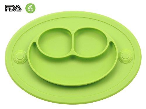 Bebé Niños Mantel Plato de Silicona Infantil Placemat Grado Alimenticio Con Fuerte Succión Ventosa Antideslizante FDA y Sin BPA, Microonda Lavavajillas Congelador Seguro (Verde)