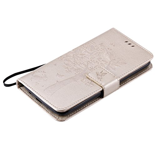 LG K8 Case Leather, Ecoway Cat and tree Patterned Embossing PU Leather Stand Function Protective Cases Covers with Card Slot Holder Wallet Book Design Detachable Hand Strap for LG K8 – Golden