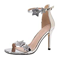 6741d5ba34 uirend Scarpe Sandali Donna - Lustrino Luccichio Diamante Cinturino alla  Caviglia Tacchi Alti Sandalo Sera Festa Partito Matrimonio Sposa