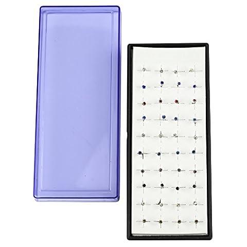 Lux Accessories Ohrstecker, verschiedene Farben, Kristall, klein, mehrere Ohrringe, Set, Geschenkbox