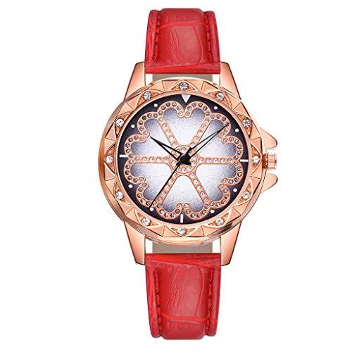 Damen Quarz Armbanduhr, Paticess Mode Luxus Klassisch Blume Strass Lederband Quarzuhr Analoge Uhren für Frauen Damen