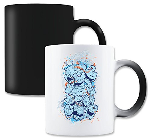(LukeTee Crazy Blue Monsters Kids Funny Design Magische Tee-Kaffeetasse)