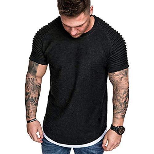Saingace Mode T-Shirt Herren Sommer Einfarbig Falten Slim Fit Raglan Kurzarm Muster Top Bluse -