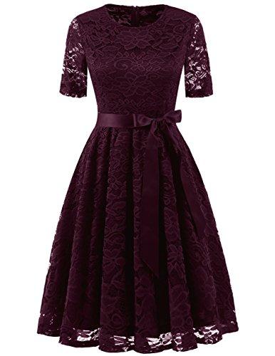 Dresstells Elegant Damen Spitzenkleid Rundhalsausschnitt Kurzarm Cocktailkleider Hochzeit Ballkleid Burgundy M