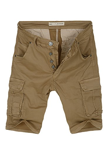 L.A.B 1928 Cargo Shorts Herren Cargoshorts Kurze Hose Bermuda Sommer Joggjeans Jeans Camel 8318 W32 (48)
