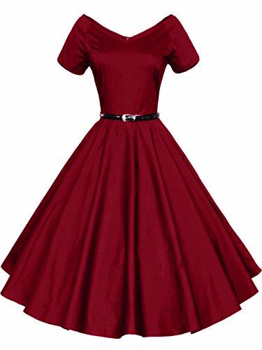 LUOUSE 40s 50s 60s Vintage V-Ausschnitt Schwingen Rockabilly Pinup Ballkleid Partei Kleid,WineRed,M