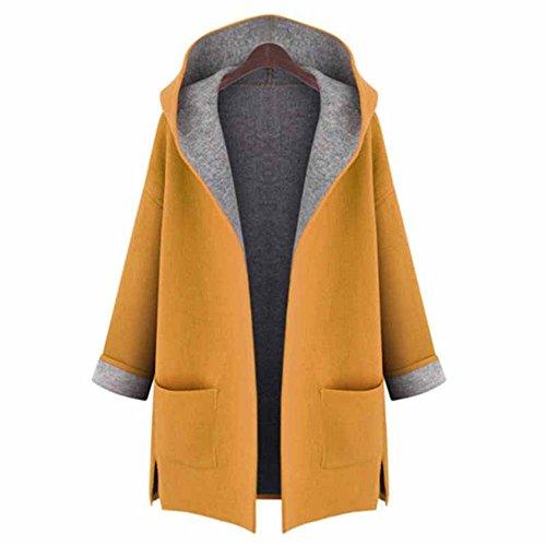 Haroty Femmes Manteau à Capuche Automne et Hiver à Manches Longues Couleur Unie Trench-coat en Laine Grande Taille Cardigan Veste Blouson avec Poches (Jaune, XL)