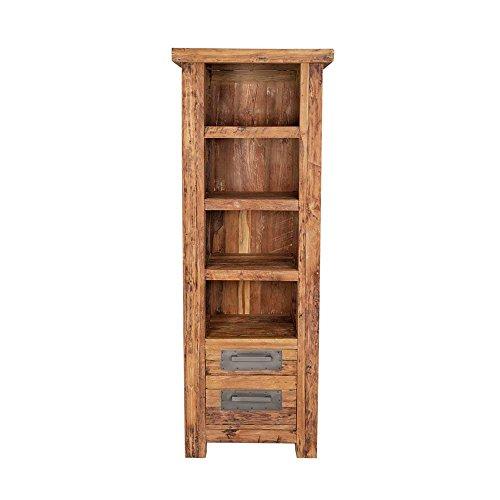 Pharao24 Massivholz Bücherregal aus Teak Recyclingholz rustikal