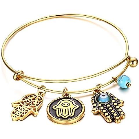 LianDuo acciaio inossidabile del turchese degli occhi e mano di Hamsa fascino filo regolabile braccialetto del braccialetto d