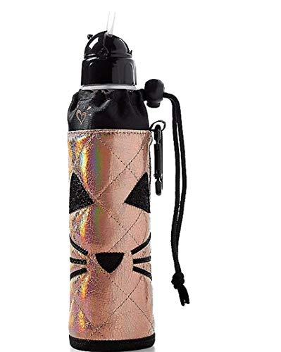 Justice Mädchen Ärmeln Wasser Flasche gesteppt Gold Katze (Tumbler Mit Stroh Mädchen)