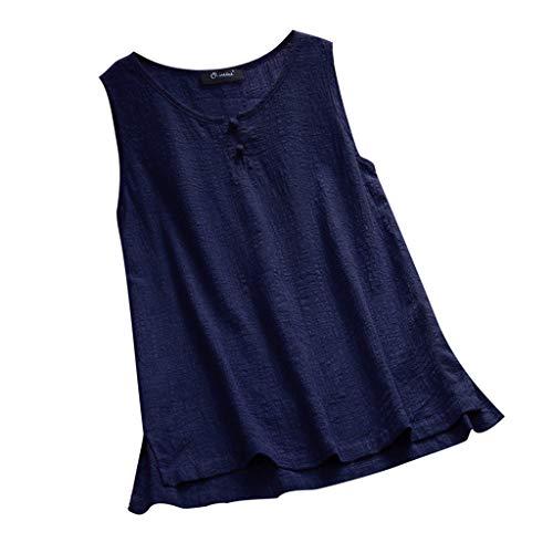 Damen O-Neck Blusen Knopf Einfarbig T-Shirt Großes Retro ärmelloses Top mit Weste (Coat-groß Pea Womens)