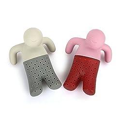 iNeibo Witziges Teesieb in Figurenform, 2 Hochwertigen Silikon Teeei für losen Tee (Rosa/Grau)