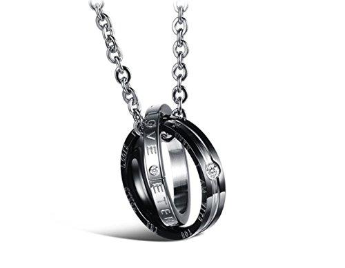 Swallowuk Couple Halskette Edelstahl Anhänger Halsketten mit Kette Schmuck für Valentinstag Geschenke Accessories (Schwarz) (Passende Kostüme Für Freund Und Freundin)