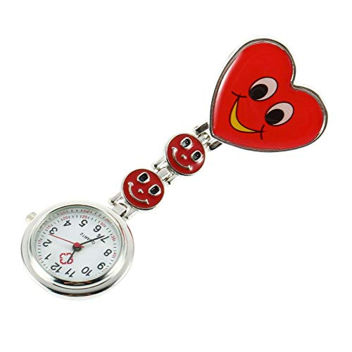 cf8fe2d7489 1 Pc Heart Shape Fob Pocket Watches Pin Brooch Cute Smile Face Nurse Quartz  Clip-