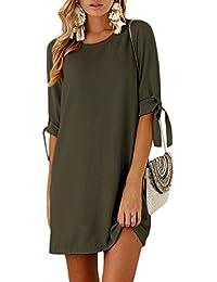 Yoins - Vestido de mujer para invierno, cuello redondo, vestido de novia, manga larga, minivestido, camiseta larga, túnica suelta con lazo en las mangas Actualización verde-1 L