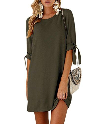 YOINS Sommerkleid Damen Tshirt Kleid Rundhals Kurzarm Minikleid Kleider Langes Shirt Lose Tunika mit Bowknot Ärmeln Grün-1 EU46(Kleiner als Reguläre Größe) (Kurzarm-seiden-tunika)